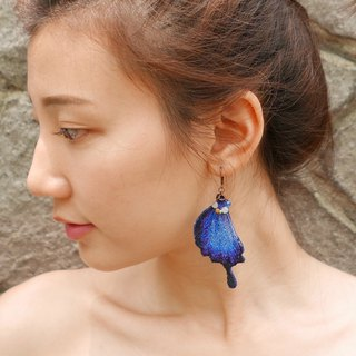 Embroidery Butterfly 'Papilio Tail' Earring / Ulysses Butterfly