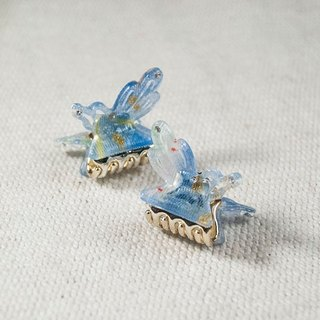 Wings, butterfly boring, small side clip - blue