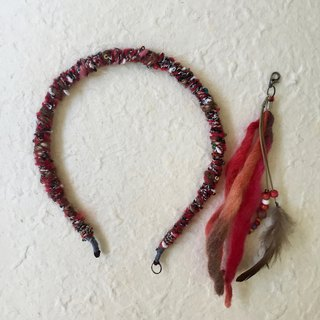 Hand weaved slim headband -with removable ethnic style tassel (red)