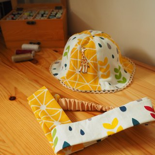Handmade hat yellow giraffe and headband gift set