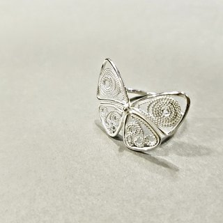 Taiwan glazed small gray butterfly filament adjustable silver ring