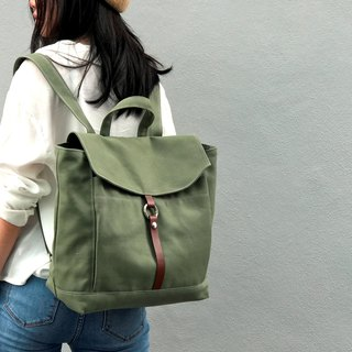 旅行背包 Canvas School backpack / leather rucksack -TANYA in Olive Green (no.102 )