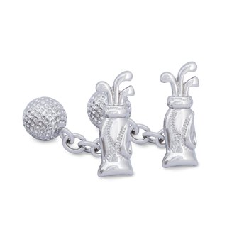 Golf and Golf Ball Cufflink with Chain