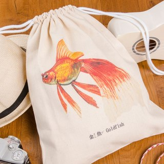 Striped Drawstring Backpack - 金魚 Goldfish