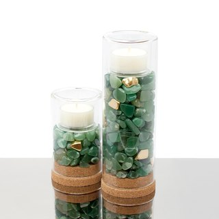 Aventurine Candle Holder Set Natural Dongling Jade Candle Holder - Set