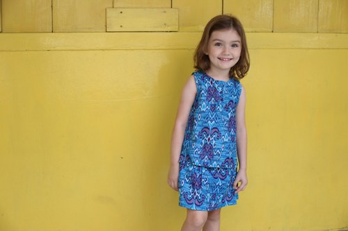 Trendy batik girl clothes - turquoise and purple