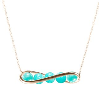 Turquoise Necklace in Gold Bar Horizontal Design, 14k Gold Amazonite Necklace