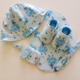 Blue bottom big head doll Miyue gift baby shoes + baby hat + peace symbol bag + universal clip + baby bib