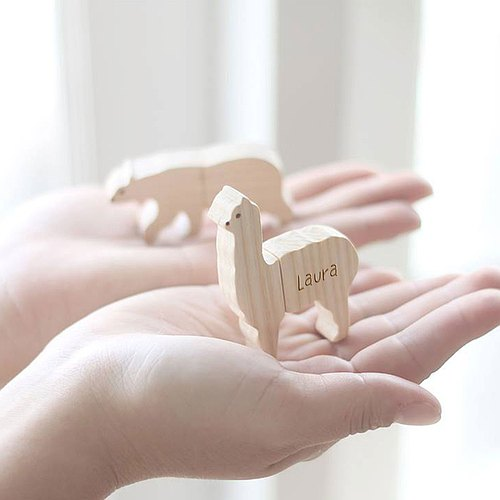Holiday Gift Customized Personalized Wooden Animal USB Flash drive - Alpaca