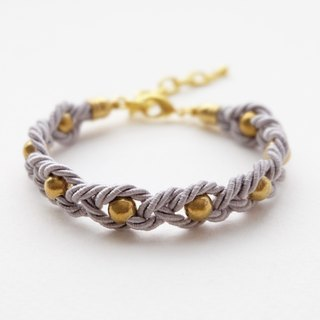 Gray twisted rope braided with brass gold balls bracelet