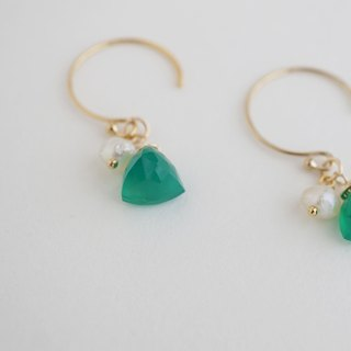 [14KGF] 14kgf natural stone hook earrings [Green onyx]