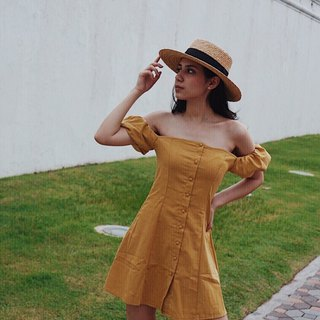 MILLA SHORT DRESS / Mustard