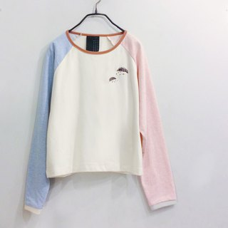 hedgehog embroidery long sleeve -pastel