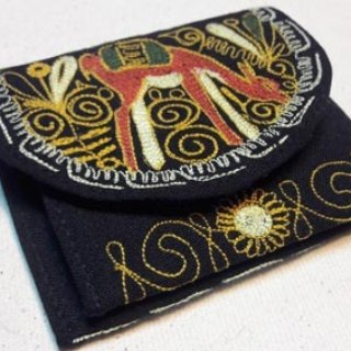 Peruvian alpaca handmade embroidery wallet / purse - Black
