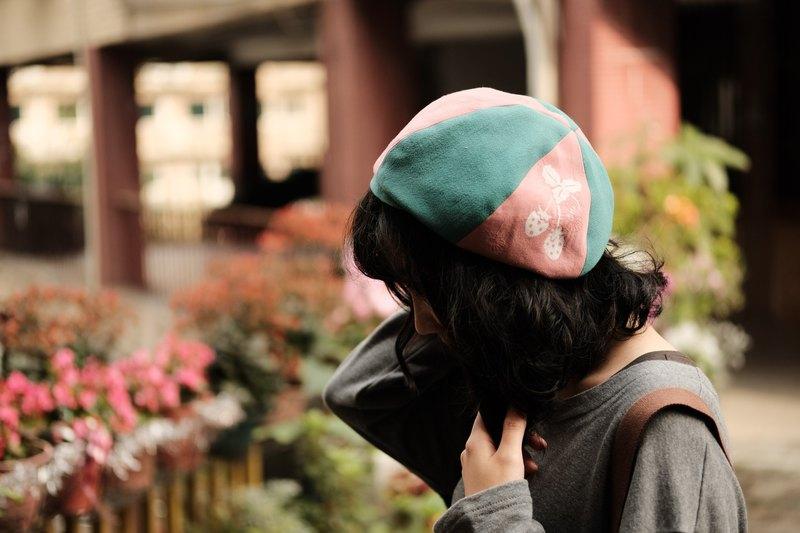 【草莓園】手工印花貝蕾帽/貝雷帽/畫家帽