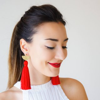 RED Clothing Gift Tassel Earrings Statement Earrings Christmas Gift Ideas Gift for Mom Dangle Earrings Wife Gift For Her Girlfriend / CHASSIO