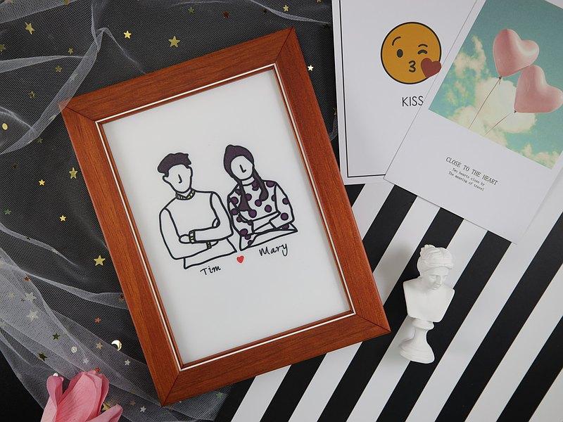 客製化 含框畫可選色 無臉 似顏繪 送禮 紀念日 情人節 閨密 插畫