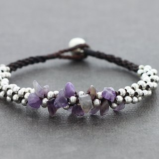 Amethyst Chunky Bracelet Silver Beaded Form Cuff Bangle
