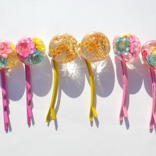 Resin hair pin, Hair pin with real flowers, Flower hair accessory, Pressed flower hair clip