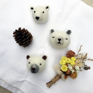 """Polar bear"" wool felt brooch"