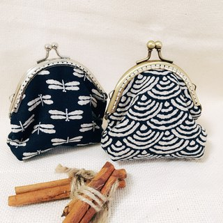 Handmade  Japanese ancient cloth Coin Purse - dragonfly /waves