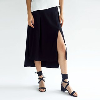 BLACK BAMBOO HI-LO SLIT SKIRT