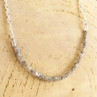 Natural diamond rough stone Silver necklace