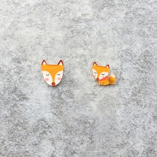 ✦Pista hill hand painted earrings ✦ animal - fox
