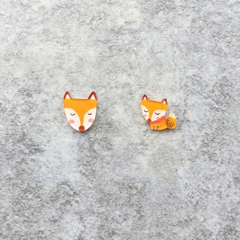 Pista hill hand-painted earrings / animal - fox + body