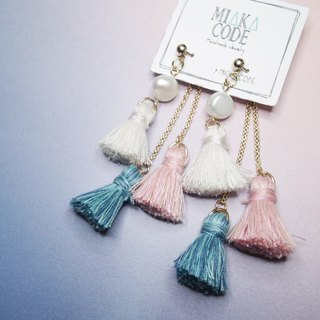 Freshwater pearls with pantone coloured tassels Earrings/Ear-clips