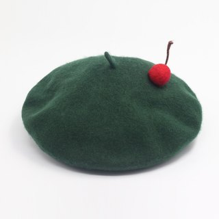 Ke people original design handmade cherry hat female Korean version of the berets of autumn and winter pure wool warm sweet and lovely