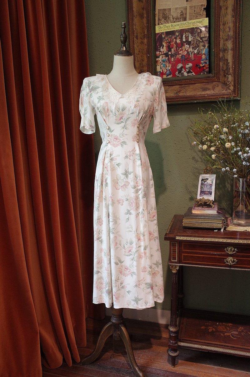 vintage dress美國制蕾絲翻領印花連衣裙古著洋裝