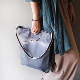 Double gray gradient dyeing (with short back webbing) - hand dyed tote bag