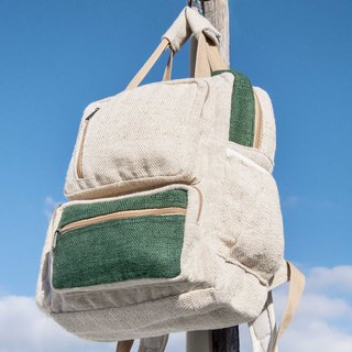 Cotton and linen stitching design backpack / shoulder bag / ethnic mountaineering bag / computer backpack - hit the color forest green