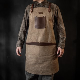 HEYOU Handmade - Craftsmen Apron Staff Job Apron - Vintage Coffee Color