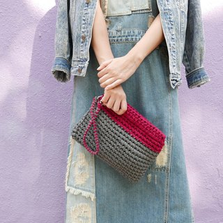 Duo Color Clutch, crochet, knit, handmade (Grey / Red)