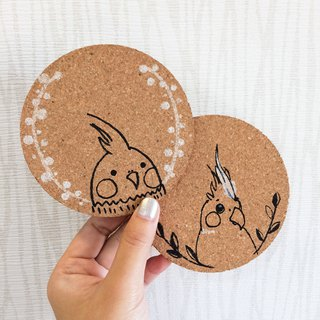 Bird and bird series custom hand-painted cork coasters