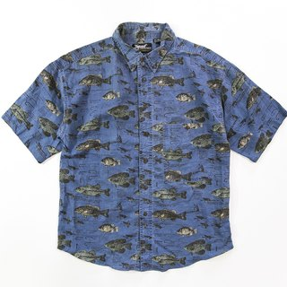 [3thclub Ming Ren Tang] Hawaii shirt blue deep sea fish extension Japan HWS-004 vintage
