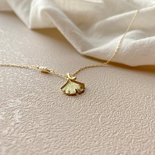 Autumn-Pearl brass necklace