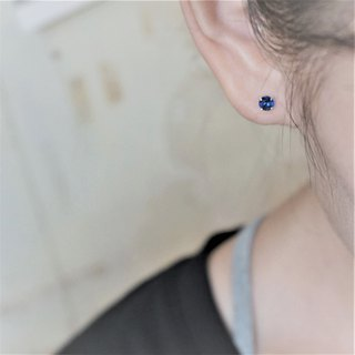 << modo color zirconium ear needle - royal blue >> 925 pure silver ear pin / pair (with 925 silver ear buckle)