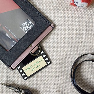 YOURS Horizontal Document Holder (with Necklace) Blue Blue Suede + Grey Blue Leather