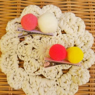 [Miya ko.] Grocery cloth hand-made baby hair clips / baby hair clips / cute fur ball / Little Princess essential / colorful cute / macarons color (a set of two)