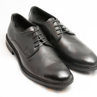 Hand-painted calf leather leather with plain Derby shoes men shoes leather shoes - Black - Free Shipping - B1A15-99