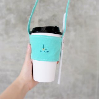 [Customer] Beverage bag (hand-embroidered 26 English letters, bag color optional) / Taiwan canvas can be loaded straw green bag cup set embroidery
