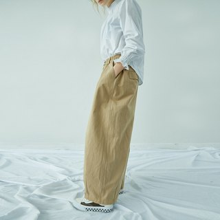Khaki cotton twill wash wide-leg pants