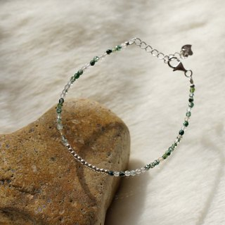 Moss Agate Silver 925 Bracelet with Linear Memory Alloy
