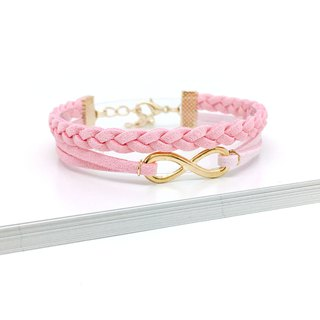 Handmade Double Braided Infinity Bracelets Rose Gold Series–pink limited