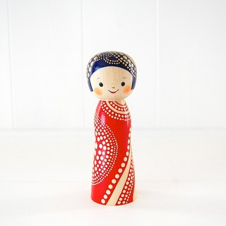 Kokeshi doll / red cheeks girl / design-no.1 /