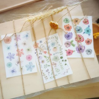 Flower roll four cut type stickers