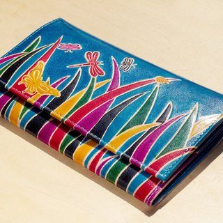 Limited Christmas goat a hand wallet / hand-painted style leather wallet / long wallet - Mongolian steppes fresh color (blue)